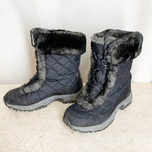 LL Bean Winter Boots 7.5 Black Apres Ski Quilted